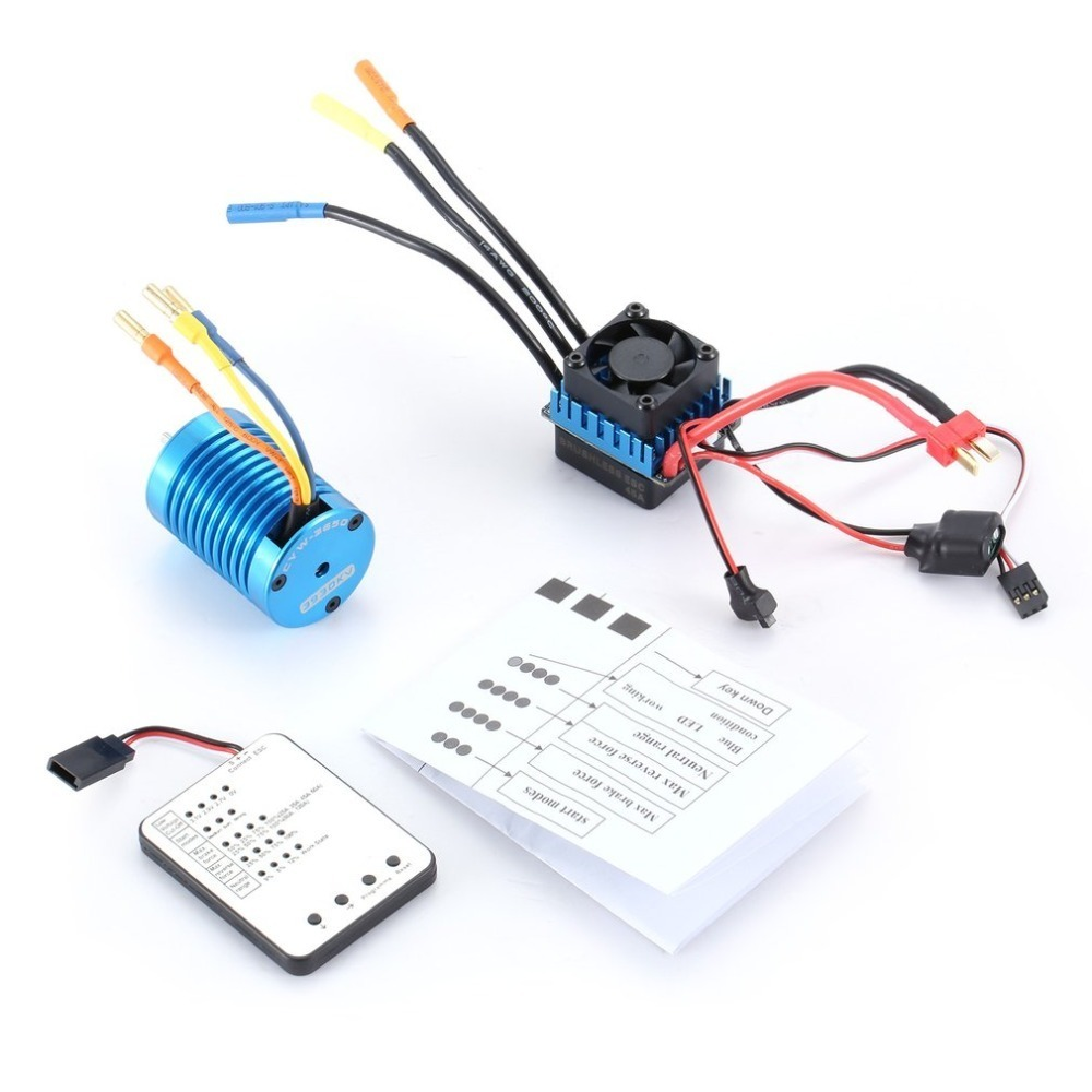 OCDAY F540 3930KV 4 poles Sensorless Brushless Motors 45A ESC with LED Programming Card Combo Set for 1/10 RC Car Truck Motors f540 3930kv brushless motor 45a esc led program card for 1 10 1 12 rc car