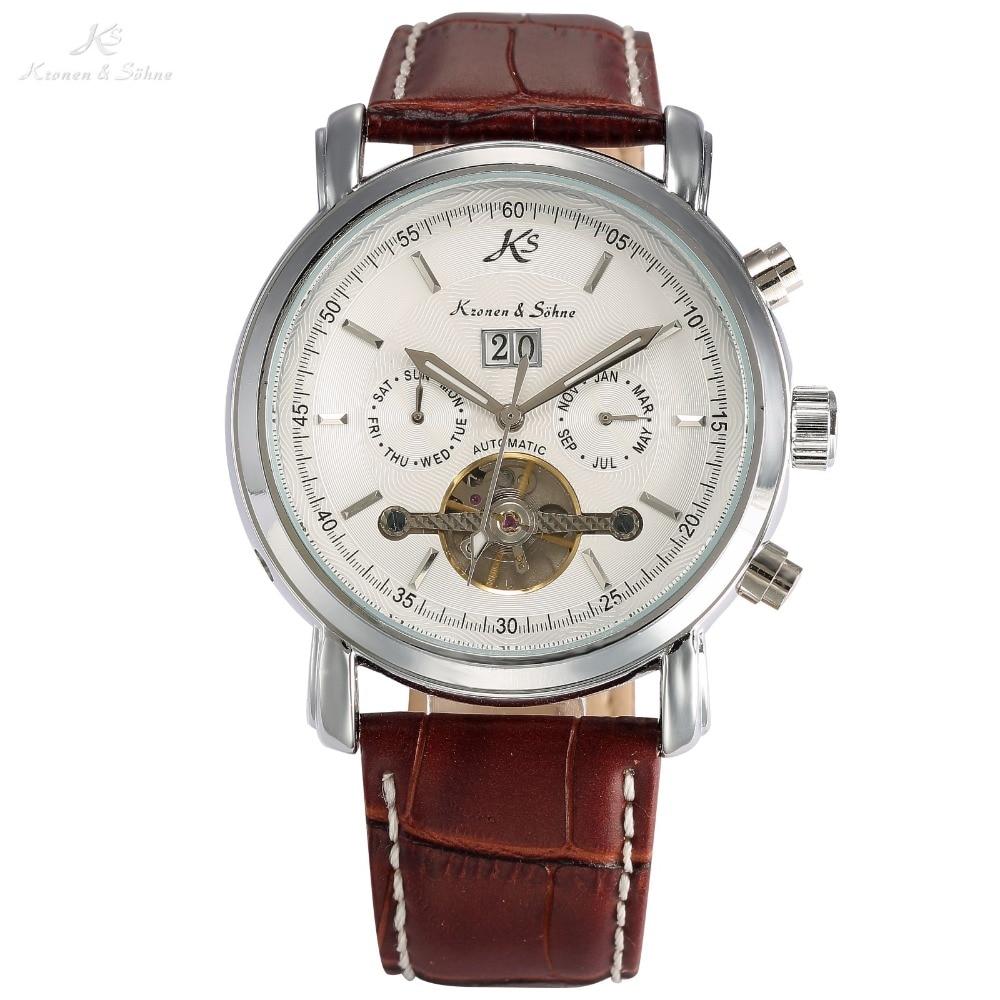 d541966ff5a Clássico ks data dia Display calendário automático tourbillon pulseira de  couro marrom homens analógico relógio mecânico