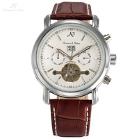 Classic KS Day Date Display Calendar Automatic Waterproof Tourbillon Brown Leather Strap Analog Men S Mechanical