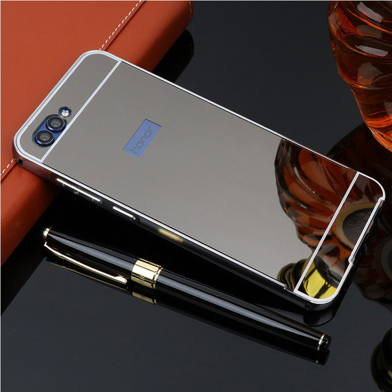 For Huawei Honor V10 Case Mirror Hard Plastic Back Aluminum Metal Phone Bumper Cover For Huawei Honor View 10 Case V 10 Shell