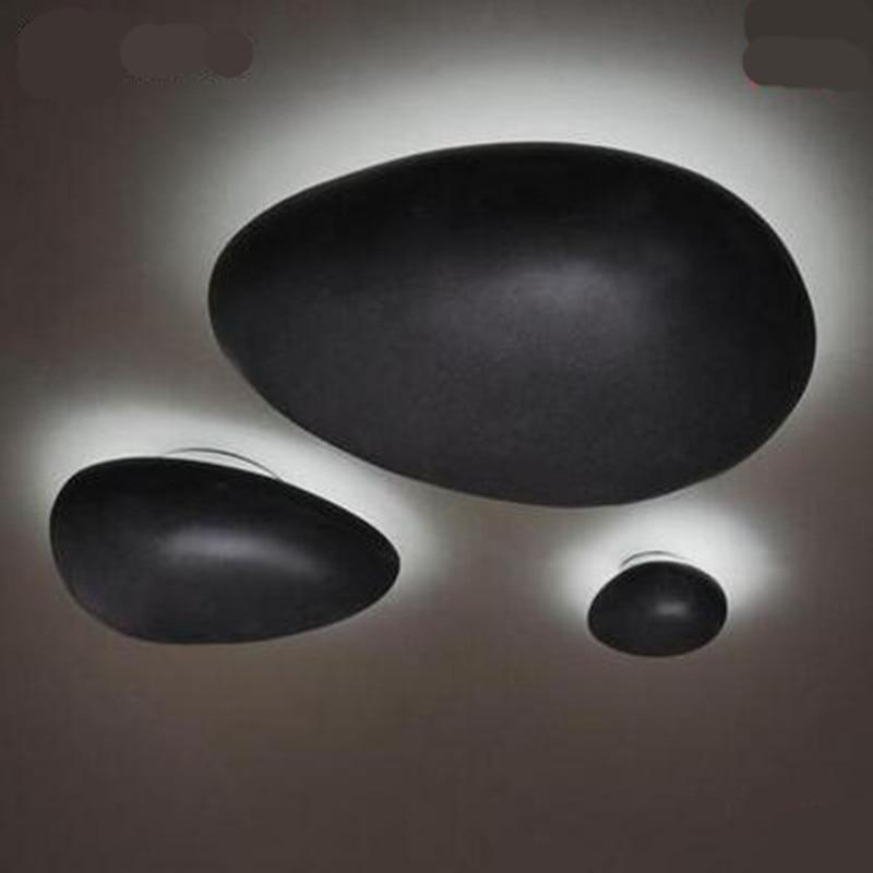 ФОТО Vintage Creative Black Resin Cobblestone Led Ceiling Light for Balcony Bedroom Entrance AC 80-265V 1245