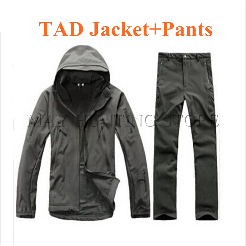 TAD Hunting Jacket + Pants Uniform Suit Waterproof  Shark Skin Soft Shell Outdoor Hiking Camping Clothing lurker shark skin soft shell v4 military tactical jacket men waterproof windproof warm coat camouflage hooded camo army clothing