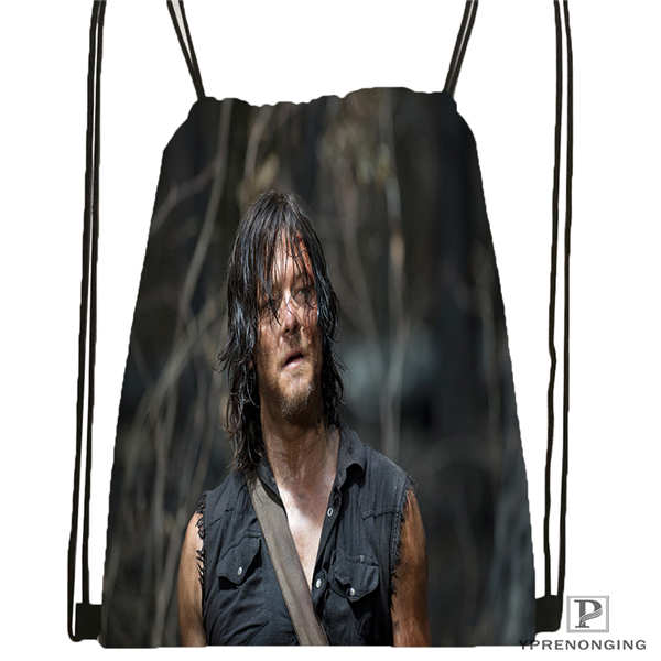 Custom Daryl-Dixon-The-Walking-Dead@01- Drawstring Backpack Bag Cute Daypack Kids Satchel (Black Back) 31x40cm#180611-01-41
