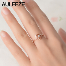 AULEEZE Genuine Floral Natural Diamond Ring Solid 18K Rose Gold Real Diamond Wedding Rings For Women Flower Fine Jewelry