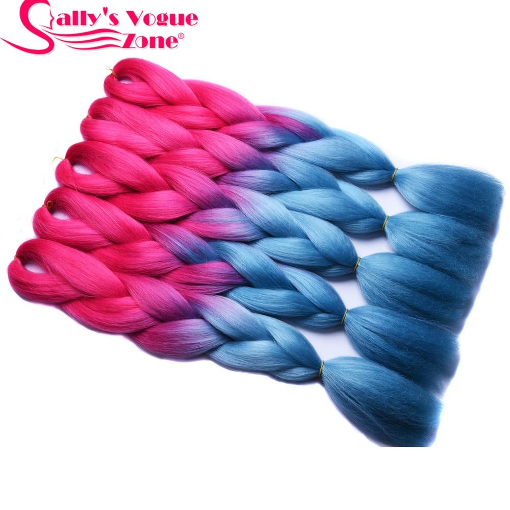 Sallyhair 2 Tone Pink Blue Color Synthetic Jumbo Braids High Temperature Fiber Hair Extension Ombre Braiding Hair White Women