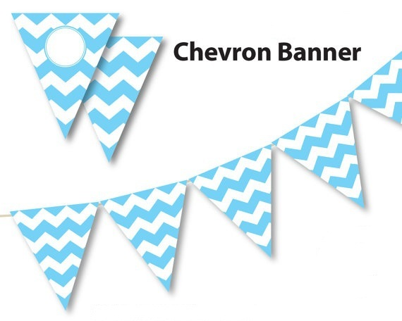 photograph regarding Printable Banners called US $57.5 Mild Blue Youngster blue banner, chevron banner, aqua blue chevron get together flag banners, printable banner, Do-it-yourself social gathering decorations di dari