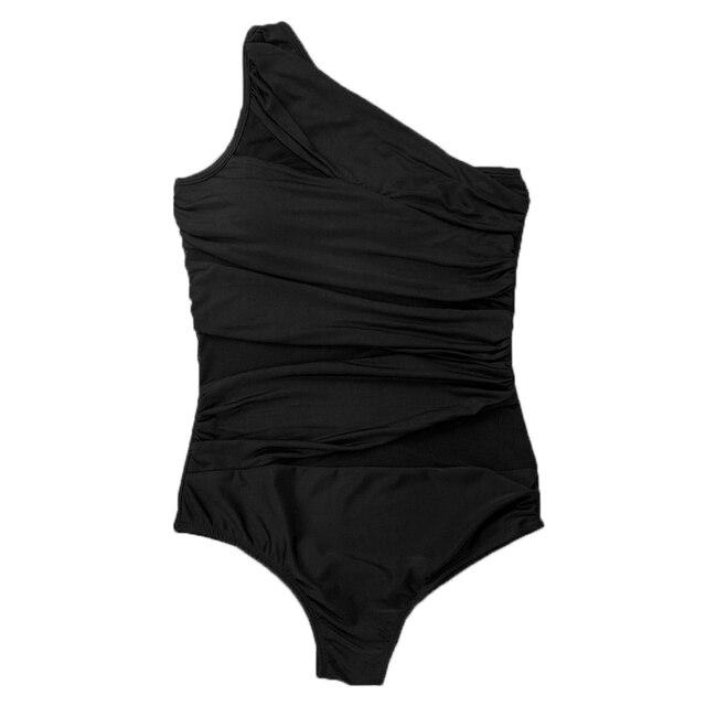 One Piece Swimsuit Women Swimwear Female Retro Plus Size Swimwear Monokini Push up Padded Bikini Large Bathing Suit Black
