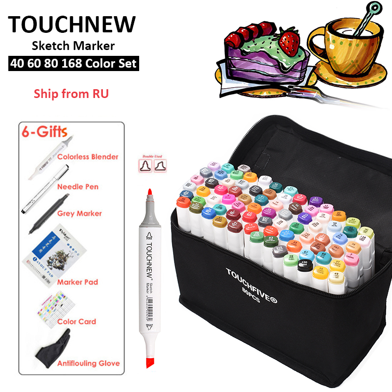 TOUCHNEW 40/60/80/168 Color Marker Pen Set Animation Design Sketch Markers Alcohol Based Art Pens With 6 Gifts Ship from RUTOUCHNEW 40/60/80/168 Color Marker Pen Set Animation Design Sketch Markers Alcohol Based Art Pens With 6 Gifts Ship from RU