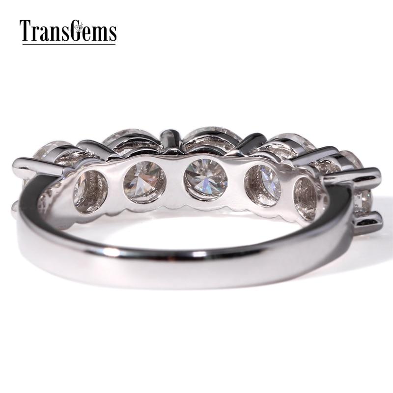 TransGems 2,5 карат Лаборатория Grown Moissanite кольцо с бриллиантом из белого золота ювелирные изделия кольца группа для свадьбы Обручение jewellery