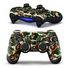 New Arrival PS4 Controller Designer Skin for Sony PlayStation 4 DualShock Wireless Controller Sticker Camouflage green logo(China)