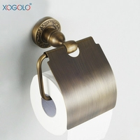 Xogolo Solid Copper Antique Sturdy Carving Wall Mounted Bathroom Toilet Paper Roll Holder Paper Towel Holder