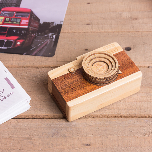 Gift for girlfriend Camera design Wooden Music Box hand cranked valentines day gift for boyfriend anniversary present new year 3