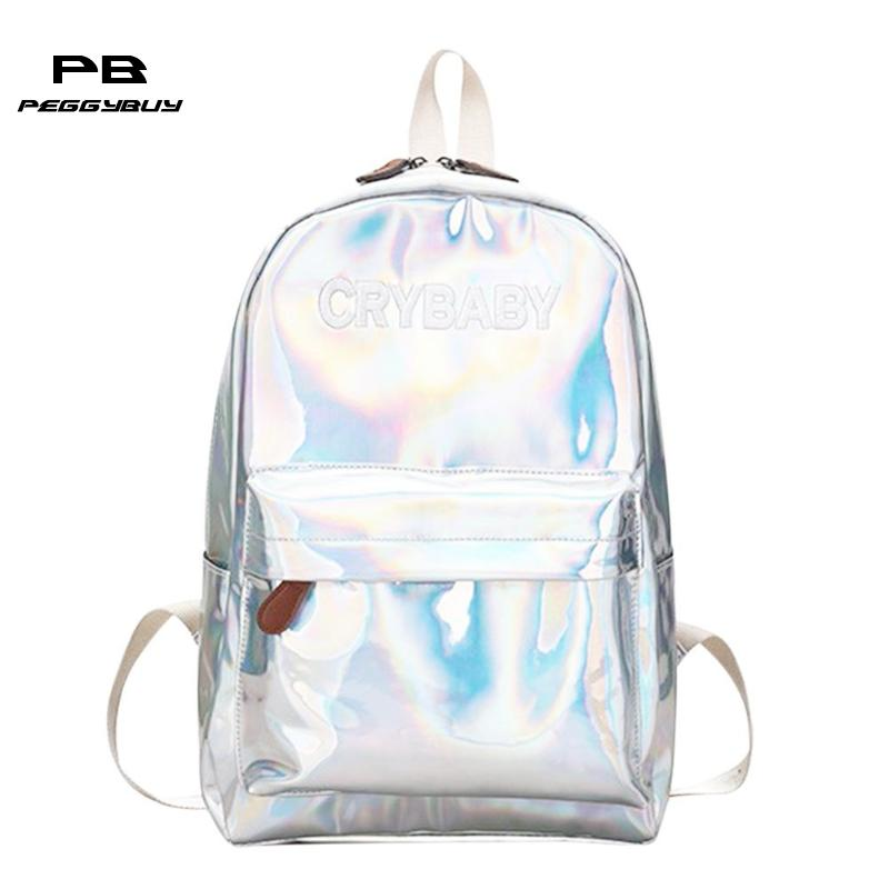 Hologram Laser Women Backpack Preppy Style Bookbags Pu Leather Mochila Escolar School Bags Boy Girl Street Waterproof Backpacks