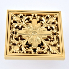 цена на Drains 10*10cm Gold Brass Shower Drain Bathroom Square Cover Anti-odor Hair Strainer Balcony Floor Drain Nhr085