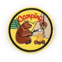 1 шт., нашивки на одежду дикого медведя и людей, полосатая одежда, наклейки, железные на круглые Аппликации, значки с вышивкой@ D