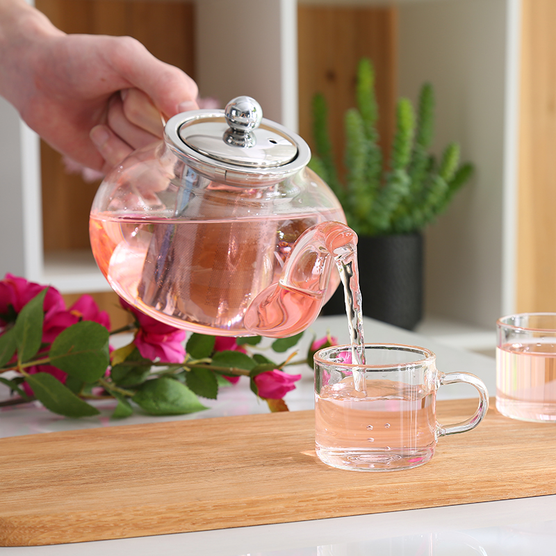 Gut Klar Borosilikatglas Teekanne Mit 304 Edelstahl Infuser Sieb Wärme Beständig Lose Blatt Tee Topf Werkzeug Wasserkocher Set