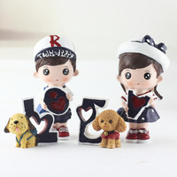 1 Pair Valentine 's Day Gifts New Resin Craft Home Furnishings Love Navy Dolls for Lover Gift Car Cartoon Figurine Miniatures
