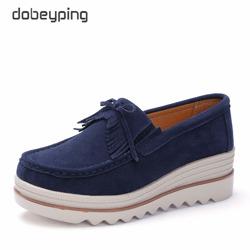 dobeyping Tassel Spring Autumn Shoes Woman   Suede     Leather   Women Shoes Flat Platform Women's Loafers Moccasins Swing Female Shoe