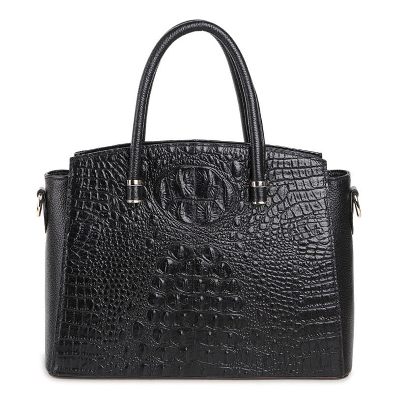 ФОТО Large capacity Alligator vintage fashion women briefcase handbags genuine leather women crossbody messenger bags shoulder bag