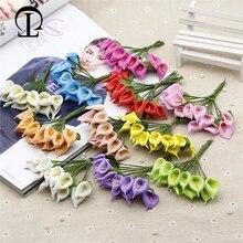 12pcs/lot artificial calla lily flowers bouquet 6 colors paper fake foam plants for garden home decoration