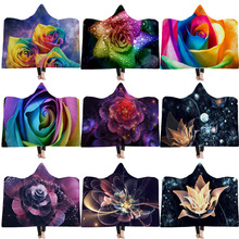 3D Printed Flower Hooded Blanket For Adults Childs Europe Portable Blankets Home Travel Wearable Warm Throw Sofa