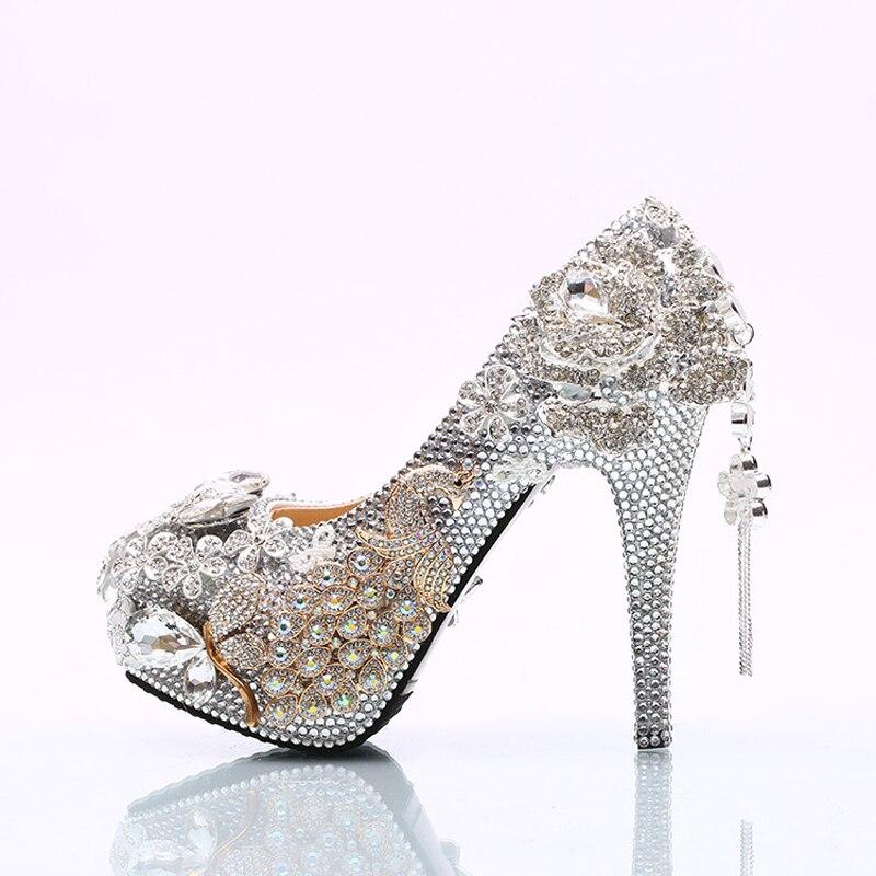 14cm Lusso Prom 45 Formato Scarpe silver Da Strass Argento Abito Nozze Fiore Festa Di Silver Grande Design Heels 8cm 11cm Custom Sposa Made Splendido Heels Pompe XqAxRA