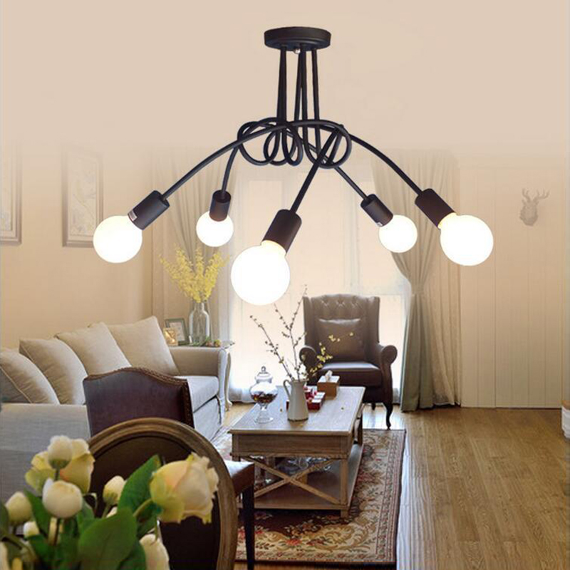 Loft black Northern Europe kitchen Modern Ceiling Lights led e27 iron decoration lamp Fixtures for Living Room home Bedroom cafe chandeliers lights led lamps e27 bulbs iron ceiling fixtures glass cover american european style for living room bedroom 1031