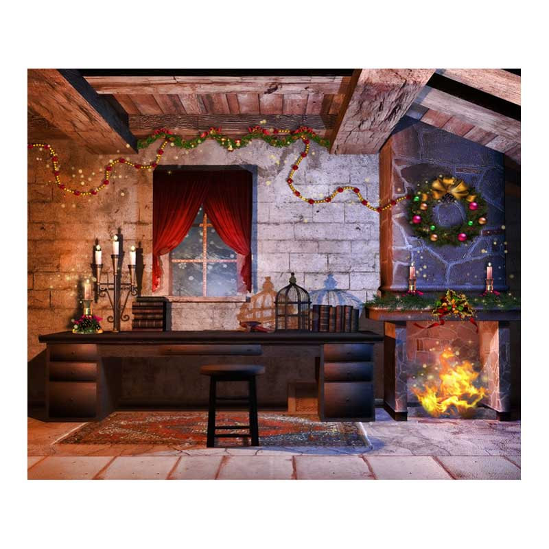 Christmas Garland Fireplace 7X5ft Vinyl Photography Backdrops Computer Printed Children Photographic Background For Photo Studio white 3d decorations xmas tree hall fireplace room backdrops vinyl cloth computer printed christmas photo studio background
