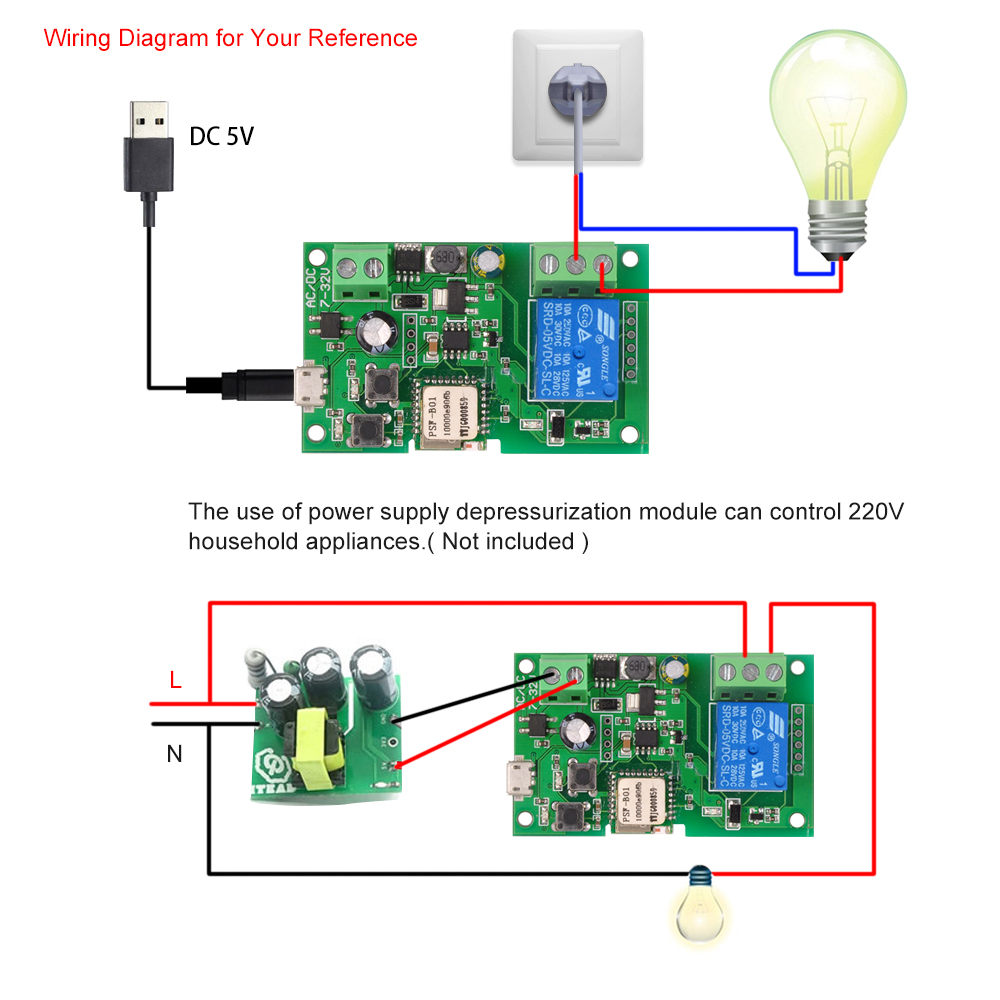 Sonoff Dc5v 12v 24v 32v Wifi Switch Wireless Relay Module Smart Home Electrical Wiring Diagrams For Homes Automation Modules App Remote Control Timer Voice In Door From