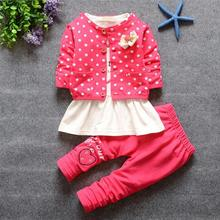 New Fashion  Autumn Outfits Sets For Cute Kids Girl Print clothing Sets kids 3PCS coat+ T shirt + Pants children Clothes HW2027