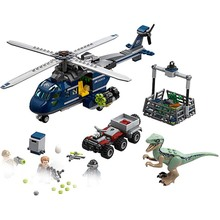 Legoing Jurassic Dinosaurs 10925 Blue Helicopter Pursuit Chase 415Pcs Building Blocks Toys Compatible 75928
