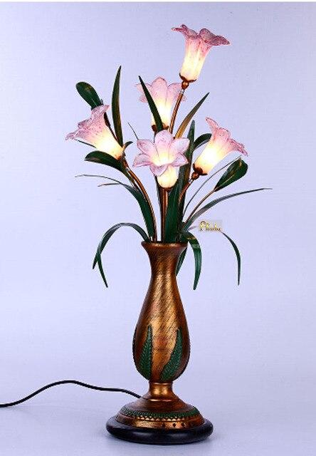 Современные СВЕТОДИОДНЫЕ Настольные Лампы Сельский Стиль Цветок Лилии Настольная Лампа Настольная Лампа Ночной Свет Освещение + Бесплатная доставка!