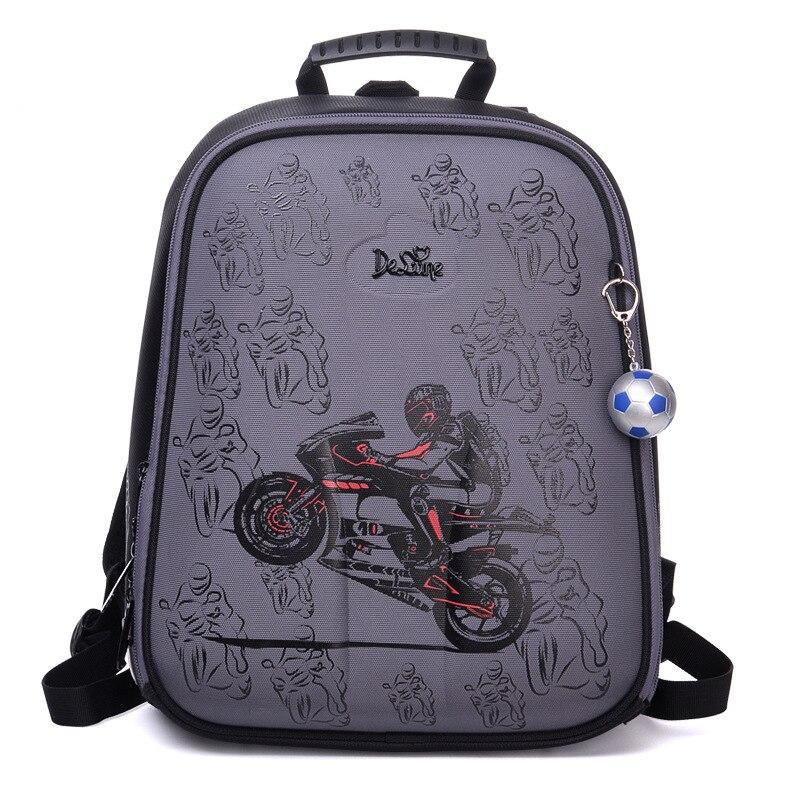 Cartoon Motorcycle School Bags for Boys Waterproof Orthopedic Backpacks Primary Grade 1 5 Kids School Backpack