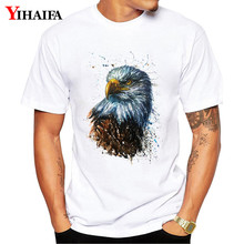 T-Shirt Men Women Hipster 3D Print Eagle Graphic Tees Casual Animal Printed White Tee Shirts Unisex Plus Size Summer Tops недорого