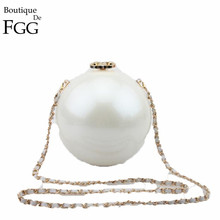 Famous Brand Round Shape Women White Acrylic Evening Clutch Bag Hard Case Wedding Party Prom PU