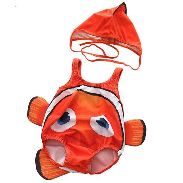 Baby Clown Fish Nemo Swimwear 2pcs Cartoon Sleeveless Swim Suit for Boys Girls 2019 Toddler Infant Bathing Suit Beachwear Hat