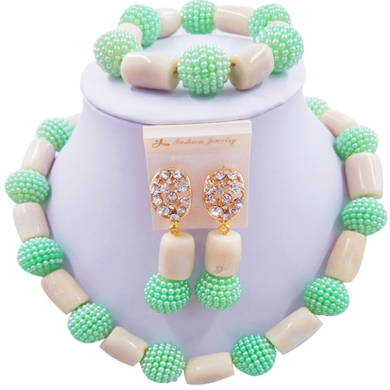 New Style Light Green White African Women Anniversary Present Coral Necklace Sets 1C-ZZSH-07New Style Light Green White African Women Anniversary Present Coral Necklace Sets 1C-ZZSH-07