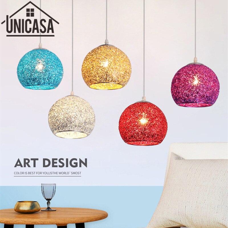 Moderní stropní lampa kované hliníkové přívěsek světla Vintage Bar osvětlení kuchyně Office LED barevné kovové svítidla