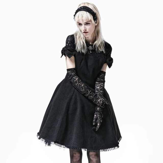 424f75317148 Fashion Gothic Lolita Princess Bow Tie Dress Steampunk Black Short Sleeves  Worsted Dress Sweet Cute Party Dress
