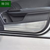 4pcs stainless steel Protector Inner Door Anti Kick Anti Dirty Pad Cover Trim For Honda Civic 2016 2017 10th