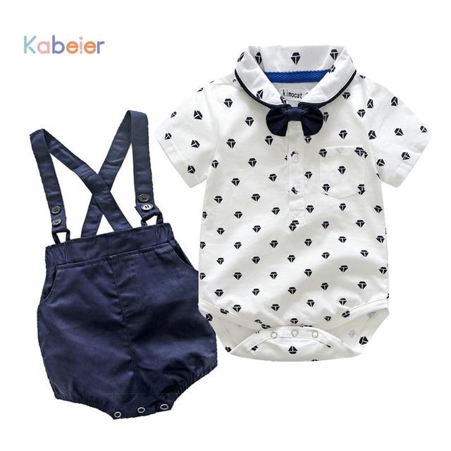 d9e2e3911b0b Summer Newborn Boy Clothing Set Cotton Baby Rompers + Strap Shorts 3-24M Baby  Suit