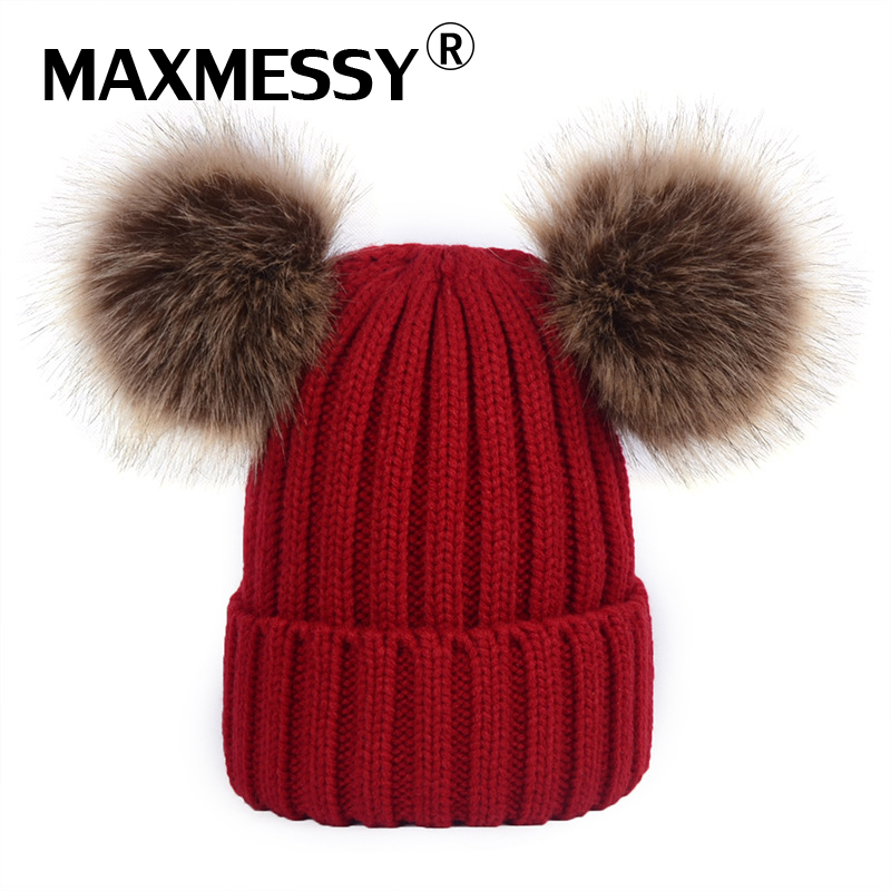 MAXMESSY New Women Winter Hats Faux Mink Fur Pom Poms Hat Girls Warm Knitted Skullies Beanies Caps Fur Pompom Hats Bonnet wholesale two fur ball pompon solid beanie hats pom poms hats winter warm skullies