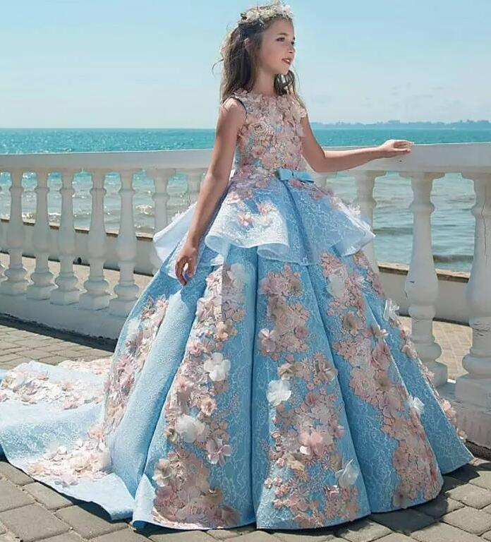 Luxury Blue Appliques Girls Pageant Dresses Ball Gown Children Birthday Wedding Party Dress Teenage Princess Gown Custom Made