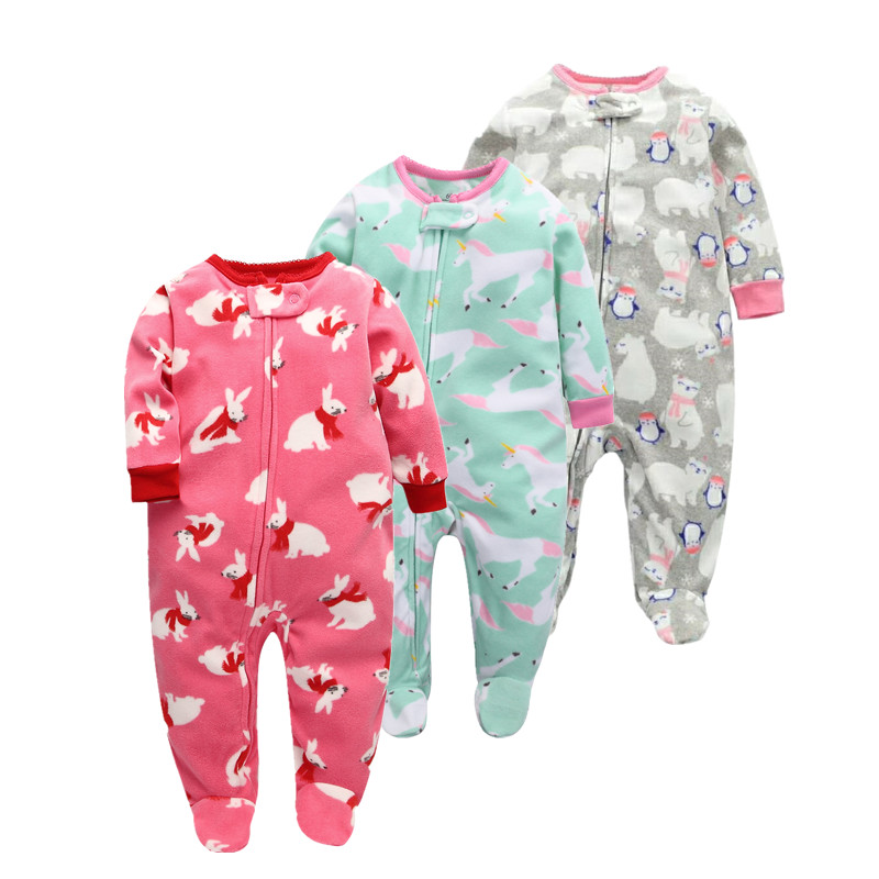 2019 Baby Romper girls rompers kids winter clothes newborn Creeper baby  body joint  Fleece  Cartoon suit long sleeve clothes
