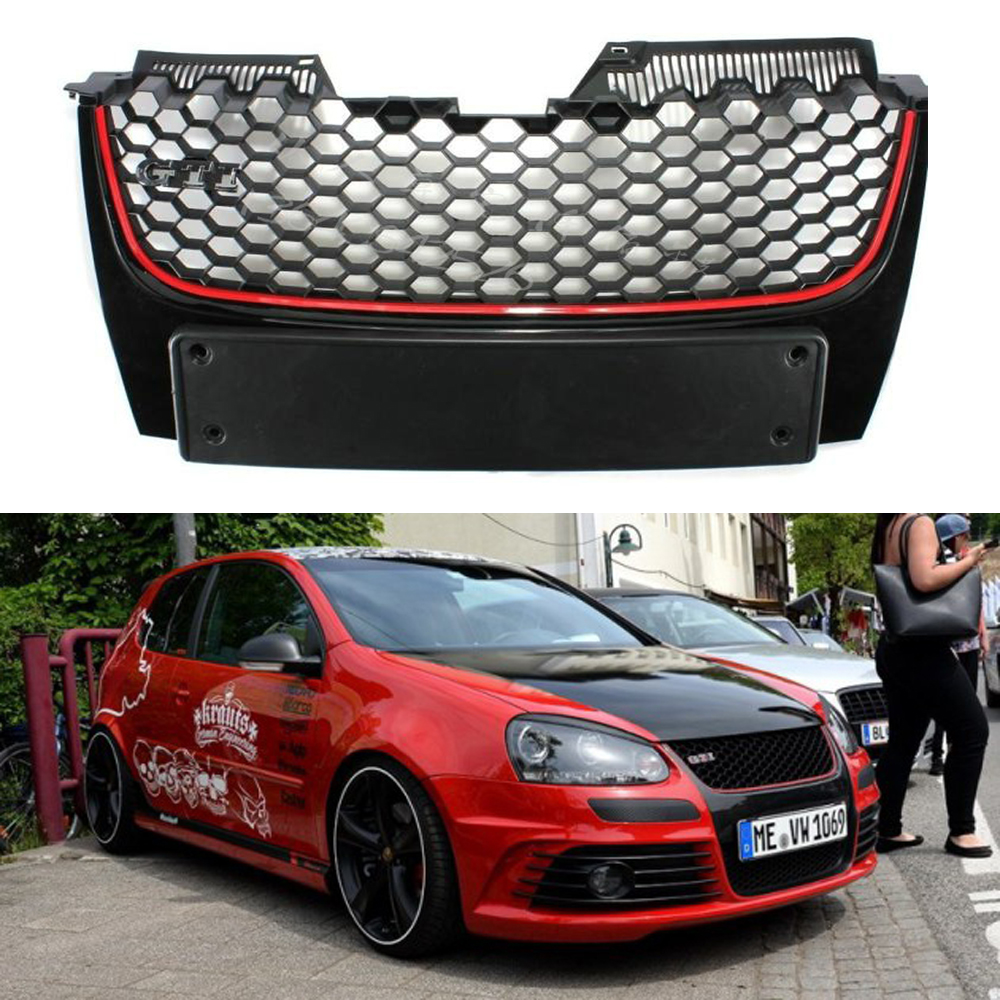 Golf 5 GTI ABS Frame Front Bumper Grille Grill for Volkswagen Golf MK5 GTI 2005-2007 Not VW Logo gti 16v grille emblem rhino tuning for vw golf mk2 mk1 gti 16v car grille grill badge golf matt chrome 3d abs badge car styling