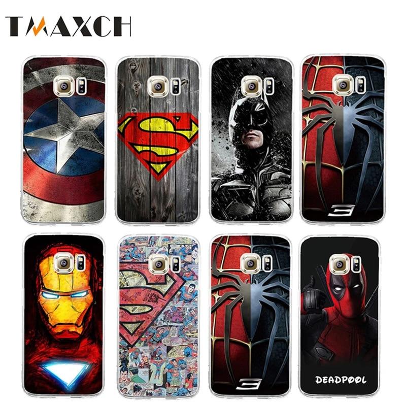 For Galaxy S7 Edge Deadpool Spiderman Avengers Hard PC Case Coque For Samsung Galaxy S6 S7 Batman Ironman Superman Accessories