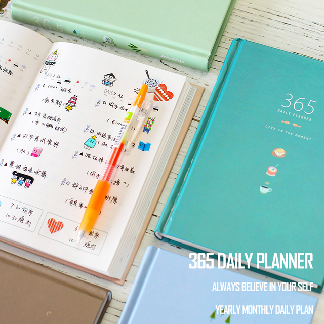 365 Days Personal Diary Planner Hardcover Notebook 2017 Office Weekly Schedule Book Cute Korean Stationery Libretas