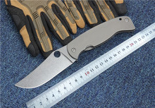 Folding Pocket knife new SPY CPM-10 blade Titanium handle outdoor camping utility EDC knife hand tool Tactical survival knife