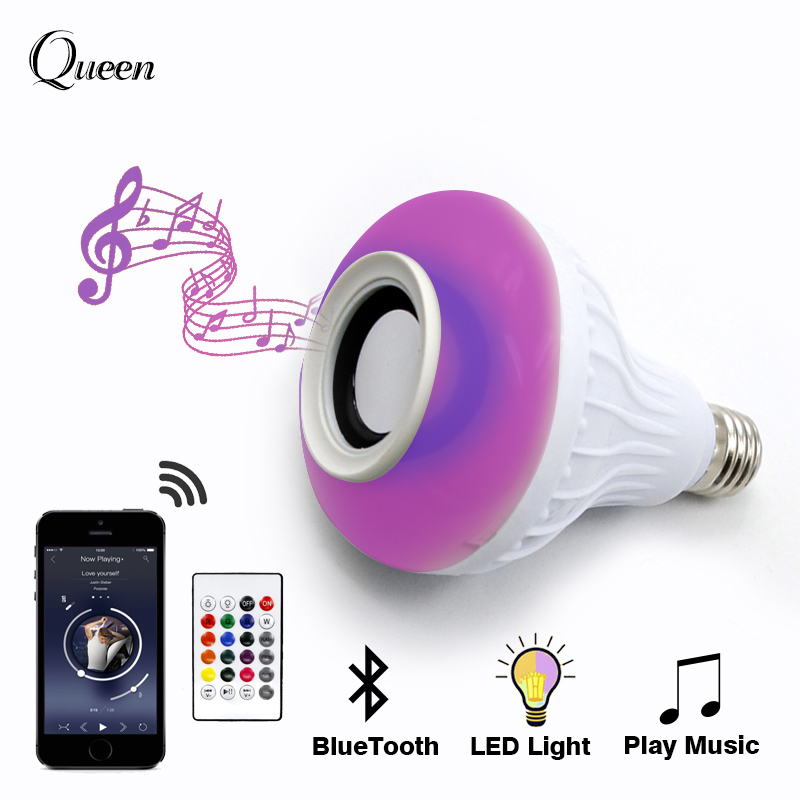 Smart Color E27 LED Bulb Light Lamp RGB Wireless Bluetooth Speaker Bulb Music Playing Dimmable 12W with 24 Keys Remote Control intelligent e27 led lamp white rgb light ball bulb wireless bluetooth remote control mini smart music audio speaker