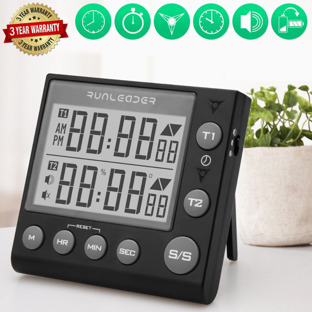 Digital Kitchen Timer Cooking Timers  timer kitchen digital timer alarm timer countdown timer kitchen timer for kids 2-channel flashing kitchen timer Indoor temperature and humidity meter7
